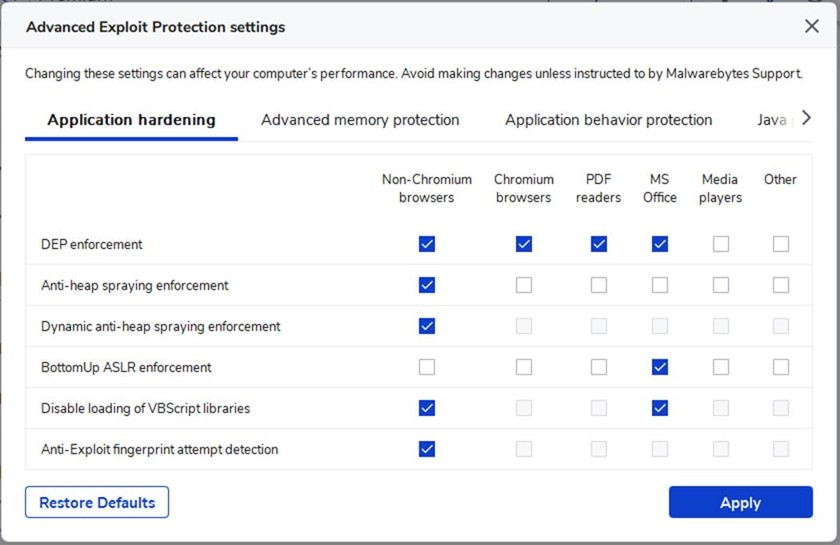 Image of Advanced Exploit Protection settings.